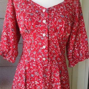 Studio West Dresses - Vintage red Floral Rayon Midi tea length dress